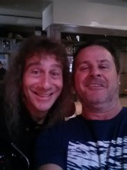 Ian K with Steve 'Lips' Kudlow from the legendary Canadian metal band, Anvil in Peterborough.