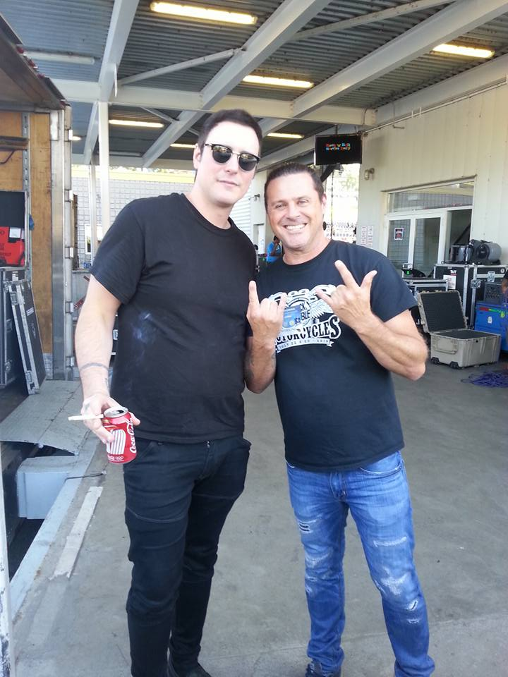 Ian K hanging backstage with Benjamin Burnley from Breaking Benjamin at Loson Amphitheater in Toronto