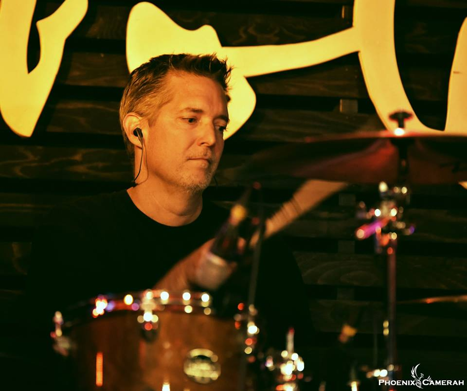 Keith Riddolls, drummer for Ian K playing live in Toronto
